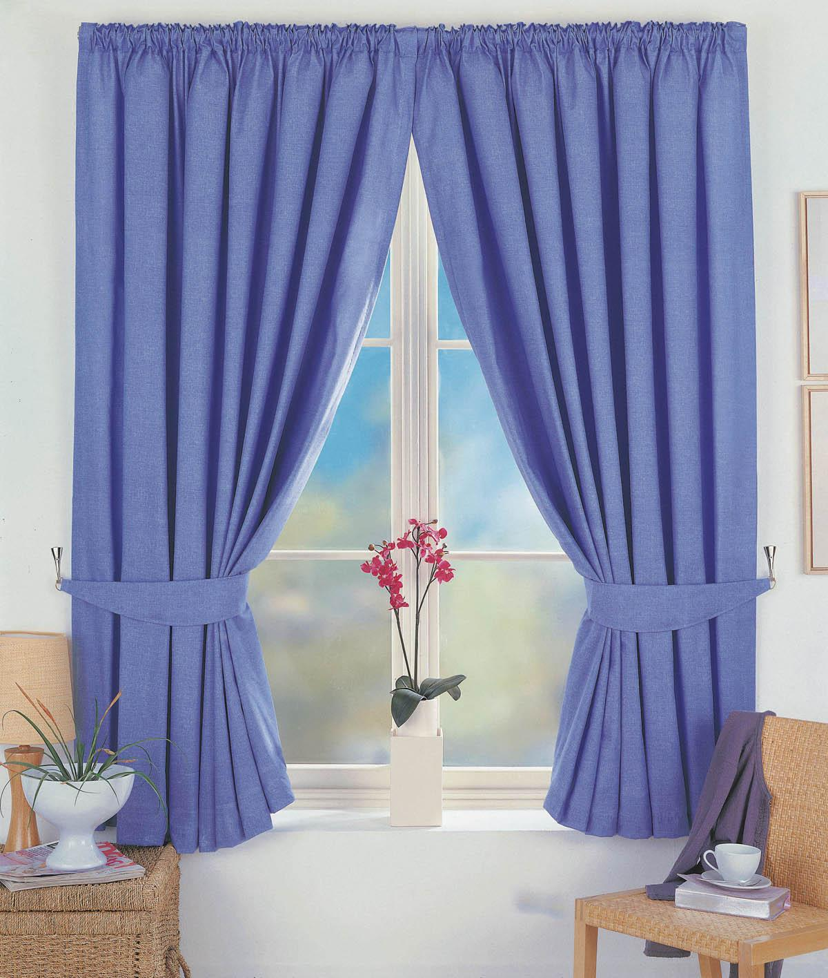 Blue Norfolk Ready Made Lined Blackout Curtains