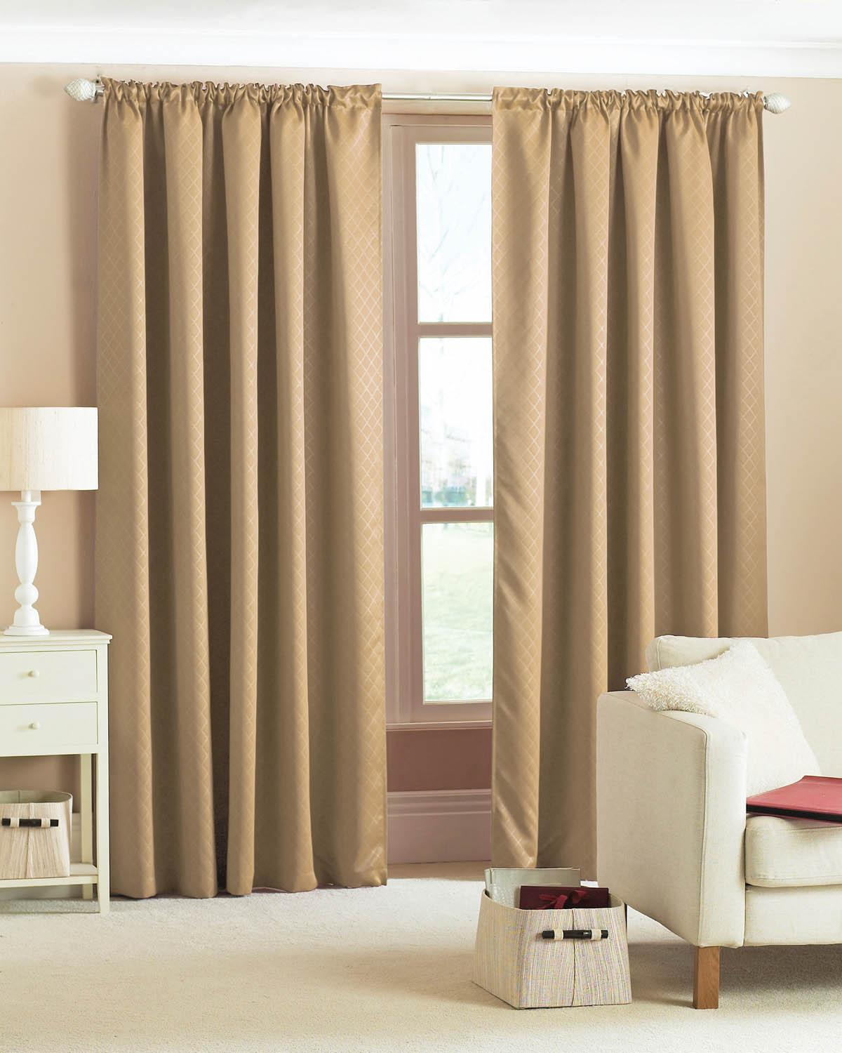 Diamond Woven Blackout Pencil Pleat Ready Made Curtains