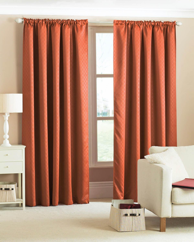 Terracotta Diamond Woven Blackout Curtains