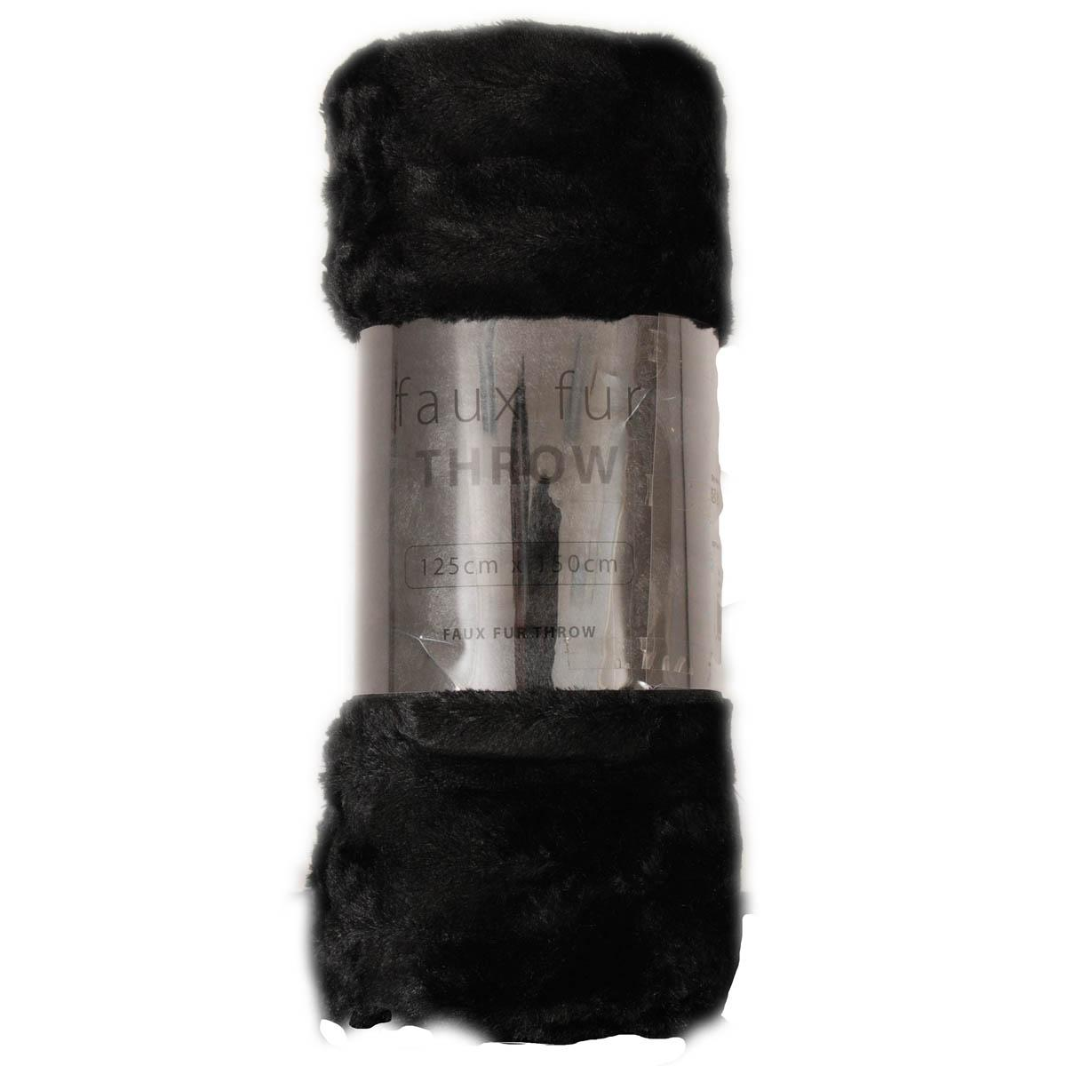 Black Faux Fur Throw