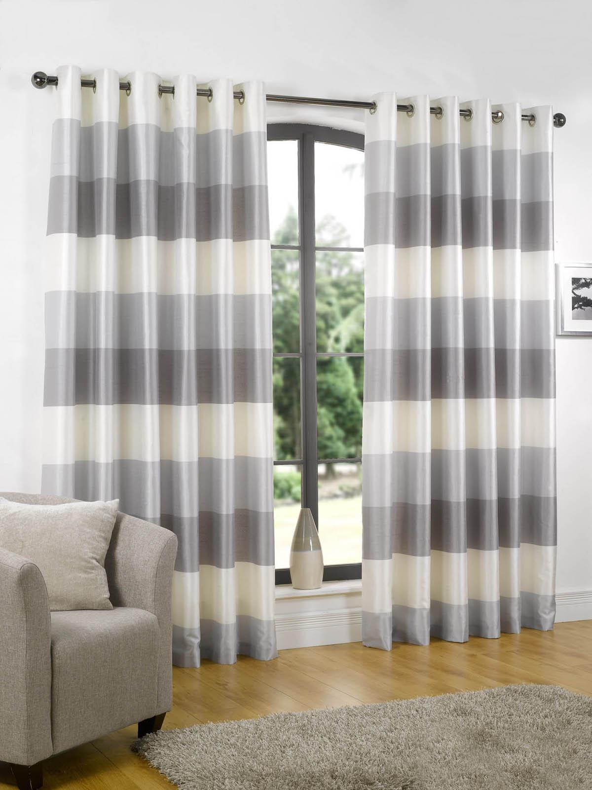Brown and white horizontal striped curtains