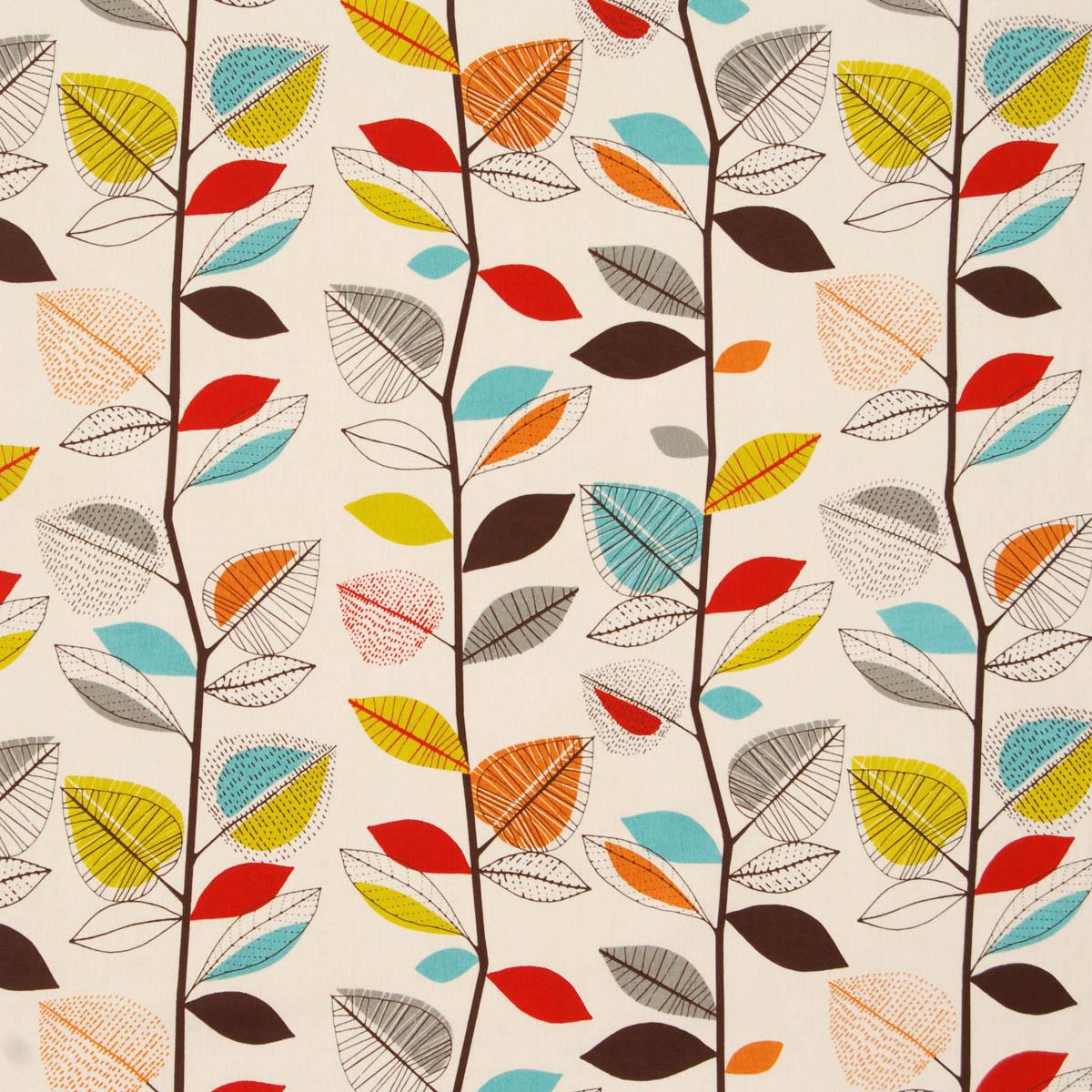 Cinnamon Autumn Leaves Curtain Fabric