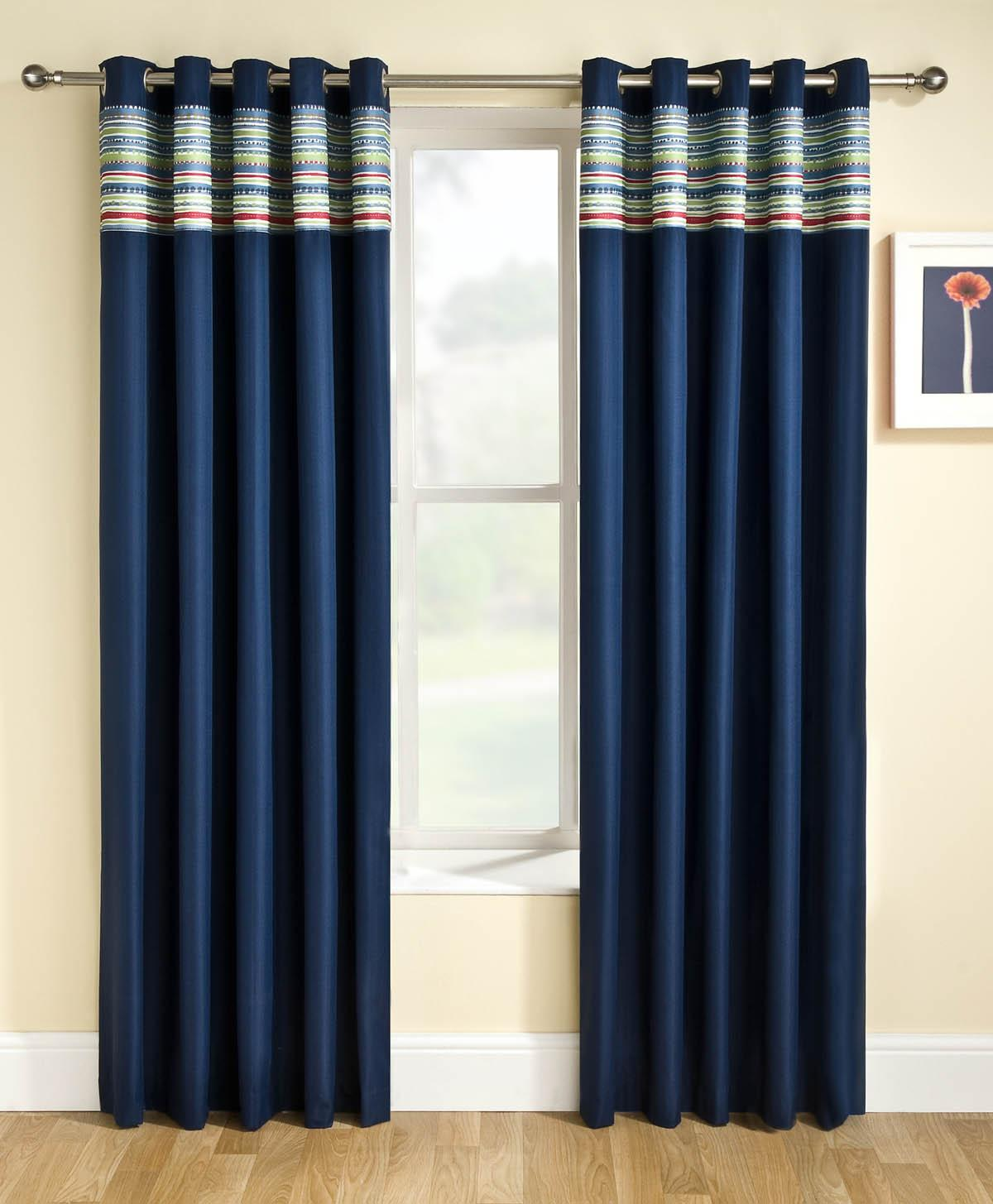 Blue Siesta Block Out Eyelet Ready Made Curtains