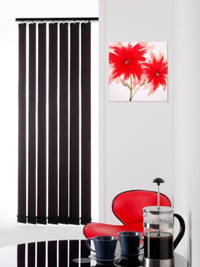 Black Ready Made Vertical Blinds 54 drop