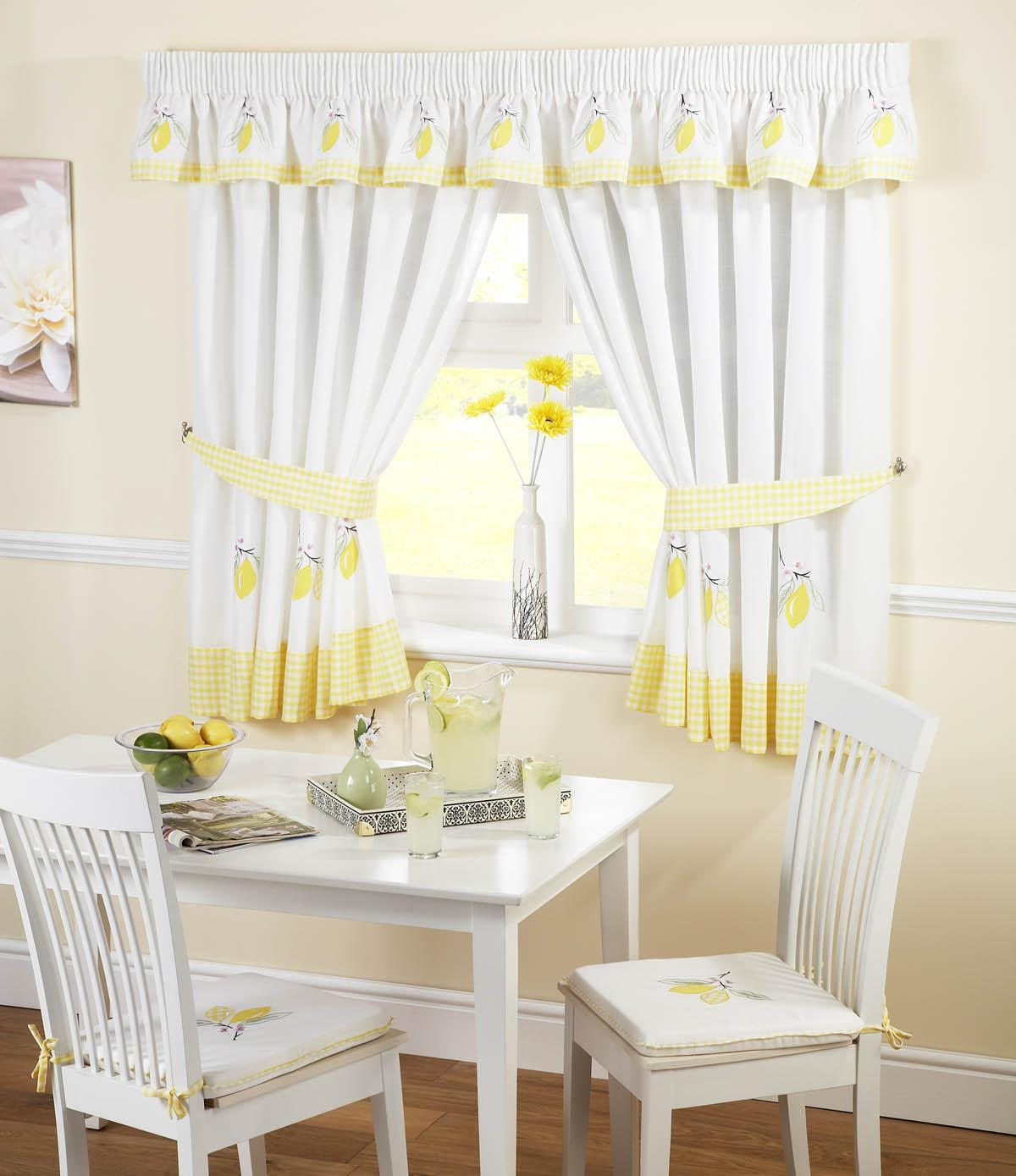 WhiteYellow Lemons Kitchen Curtains