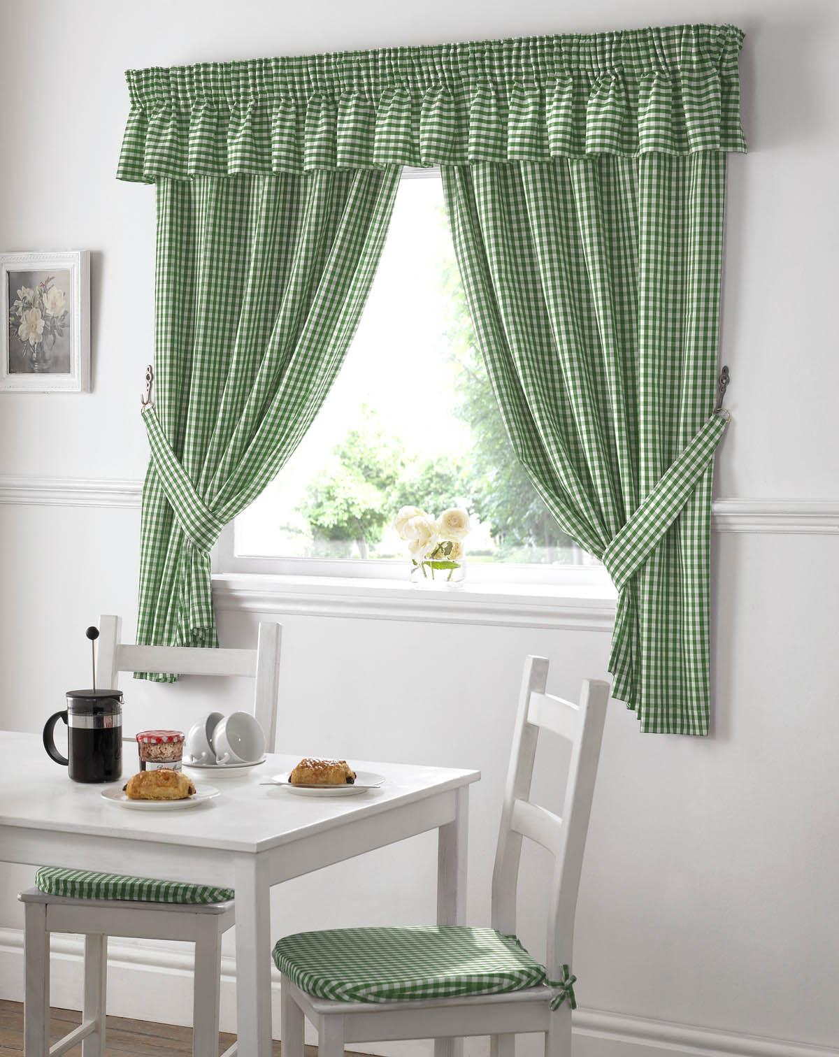 Green Gingham Value Kitchen Curtains