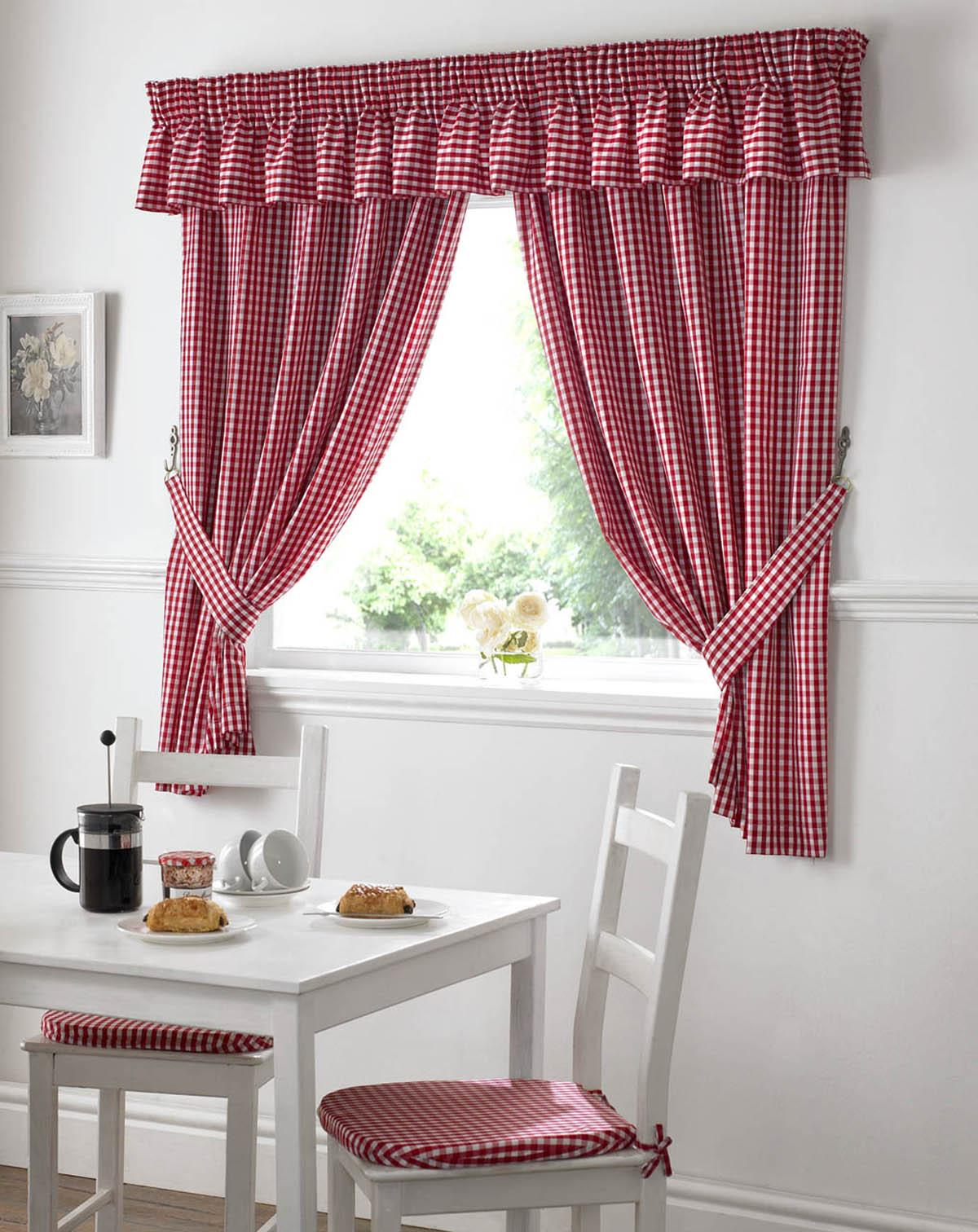 Red Gingham Value Kitchen Curtains
