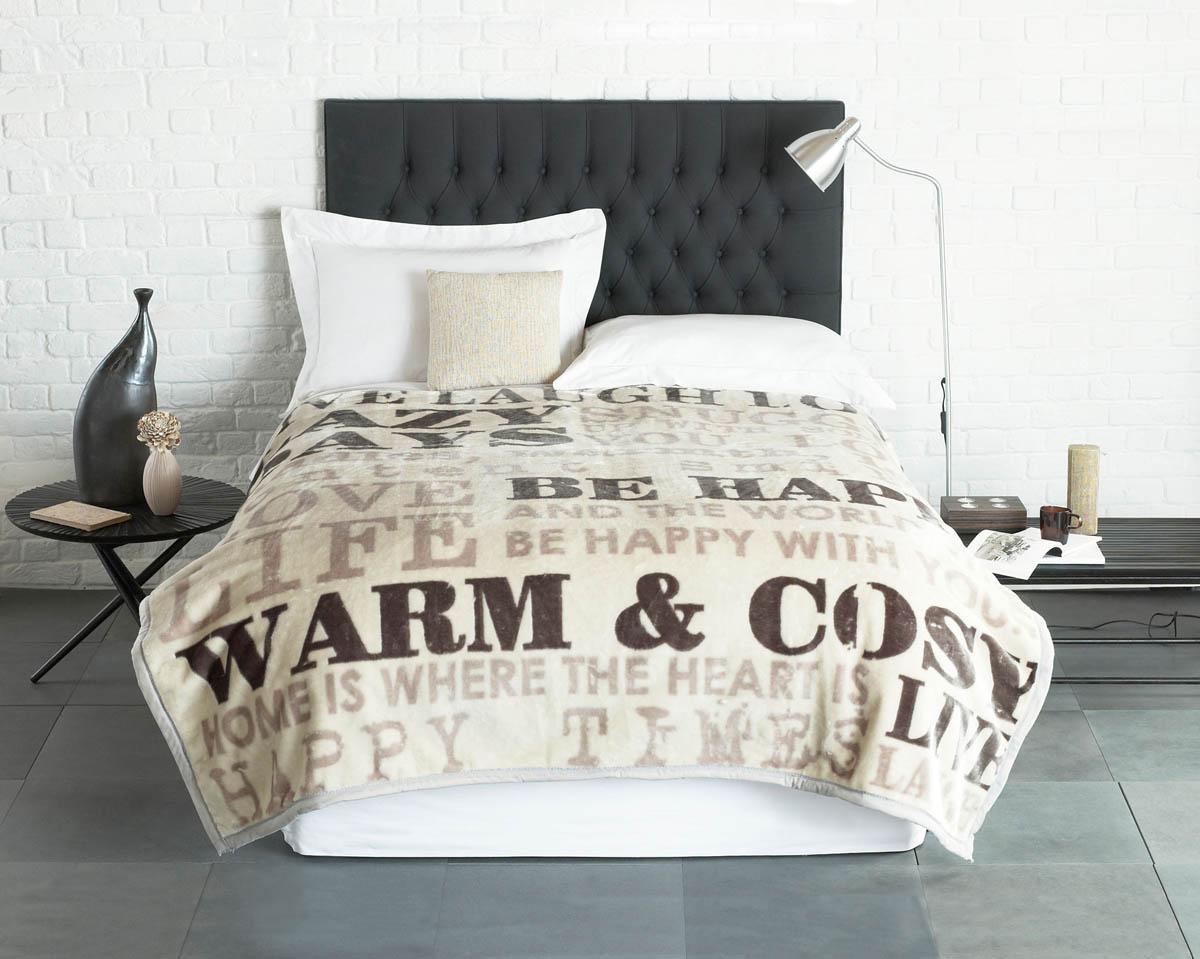 Natural Vintage Words Luxury Fleece Throw  Blanket