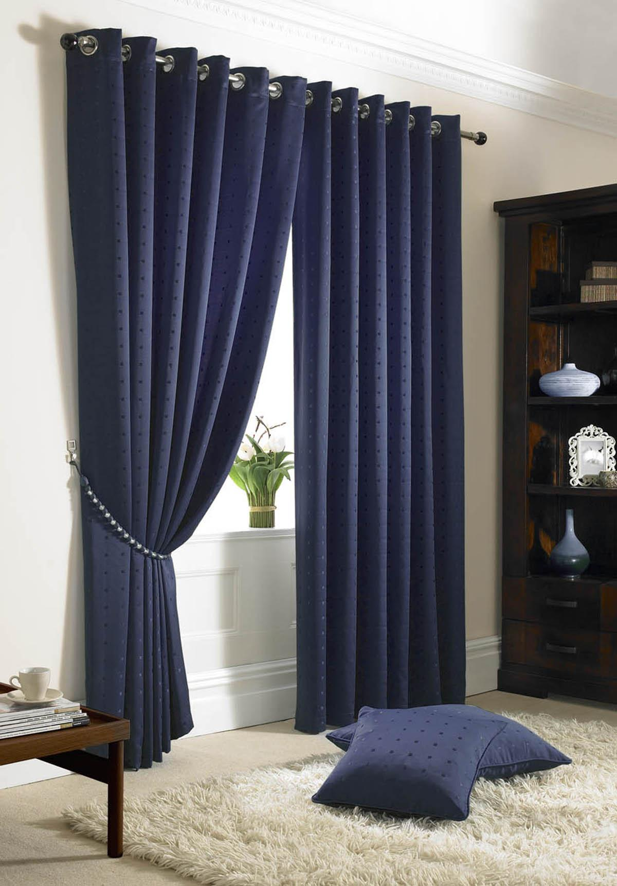 Navy curtains blackout - Navy Madison Eyelet Lined Curtains