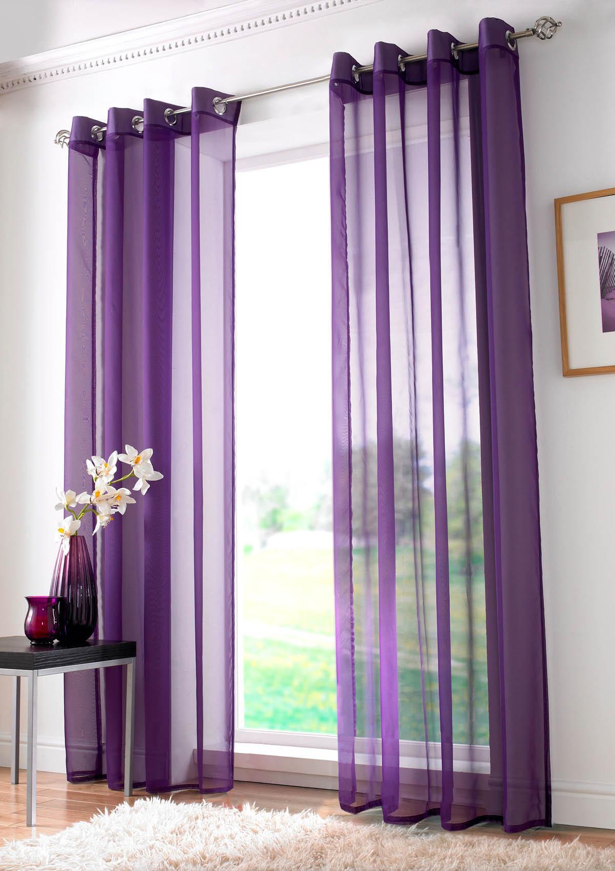 Purple Plain Ring Top Voile Panel