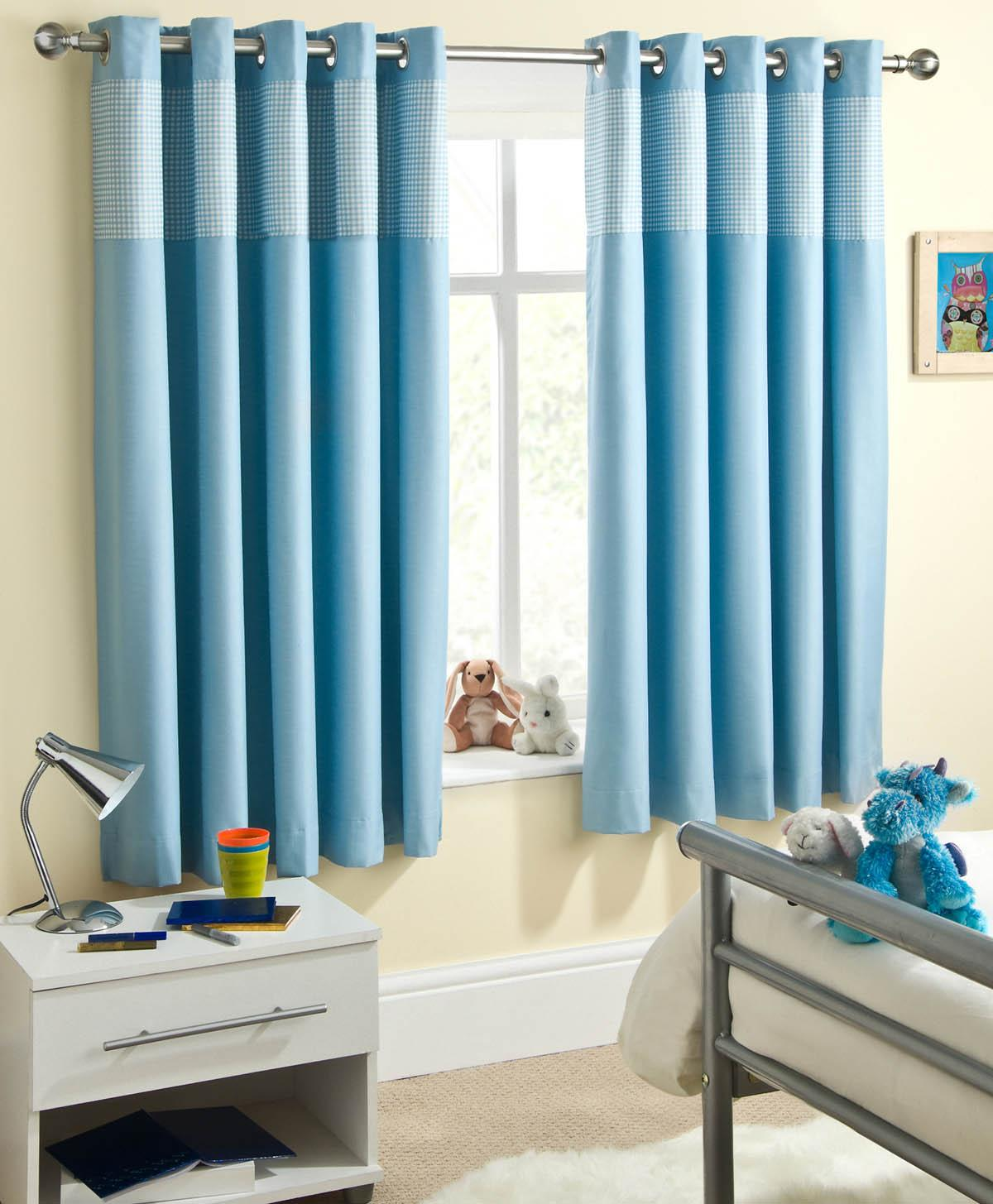 Blue Sweetheart Dim Out Eyelet Curtains
