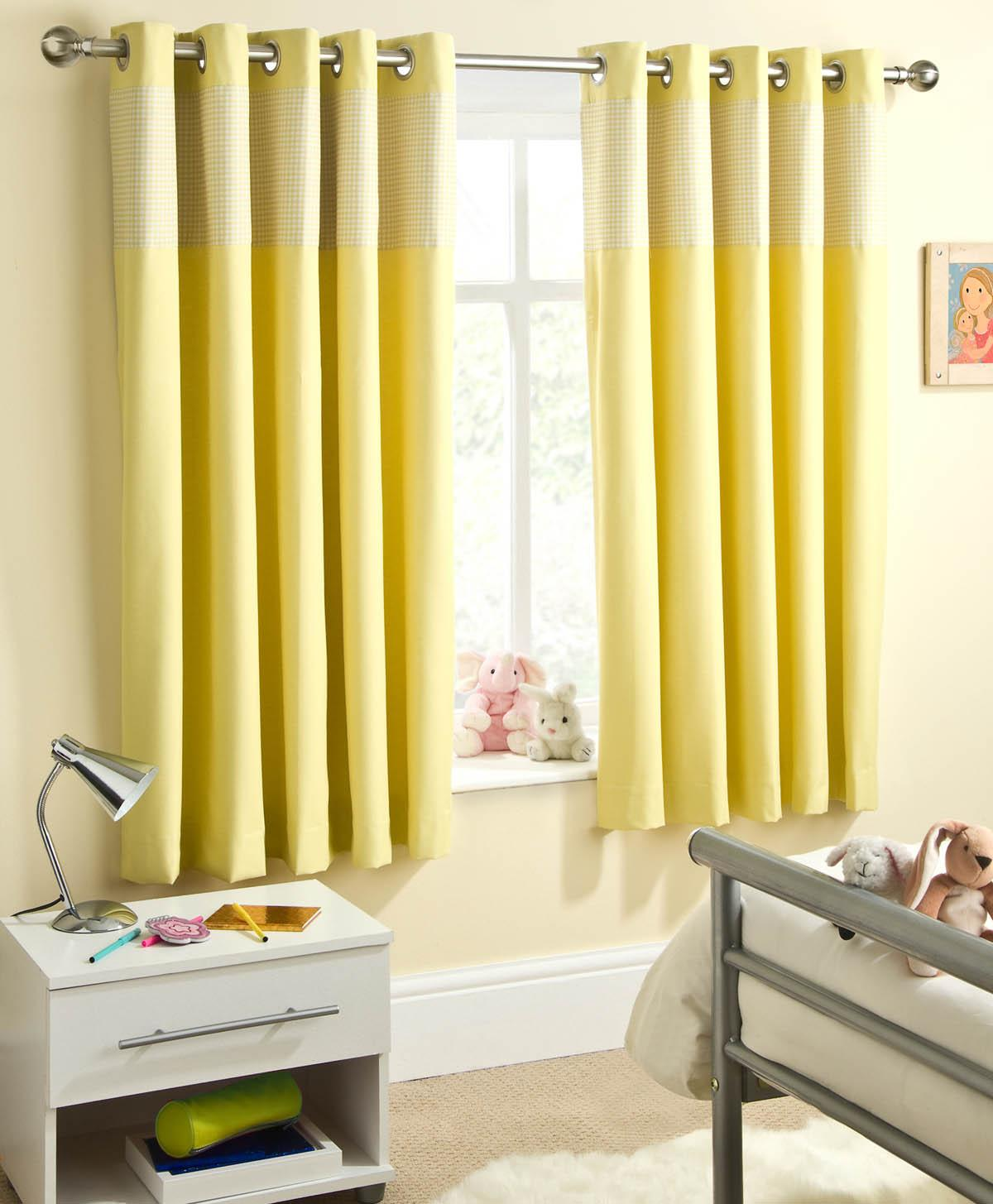 Yellow Sweetheart Dim Out Eyelet Curtains