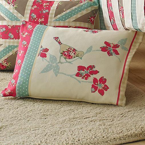 Multi Petticoat Bird on a Branch Boudoir Cushion