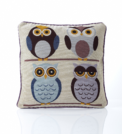 Multi Owl Tapestry Filled Cushion
