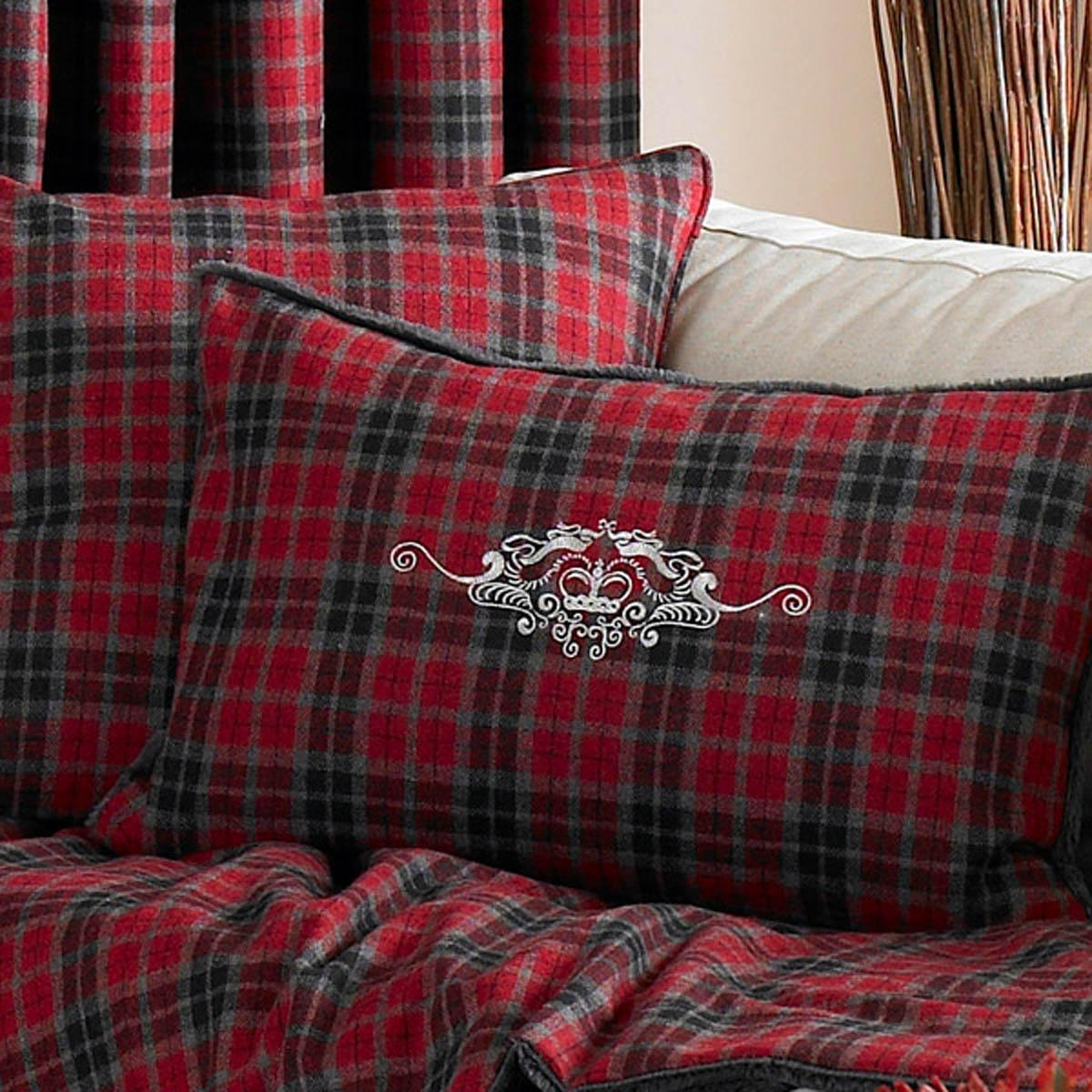 Cranberry Val d`Isere Crown Embroidered Filled Boudoir Cushion