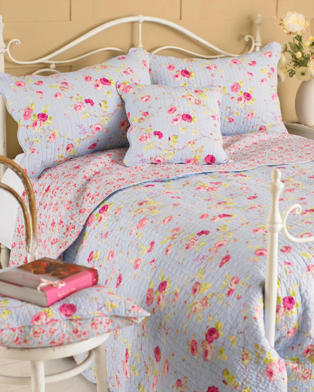 Blue Honeydew Lane Quilted Bedspread