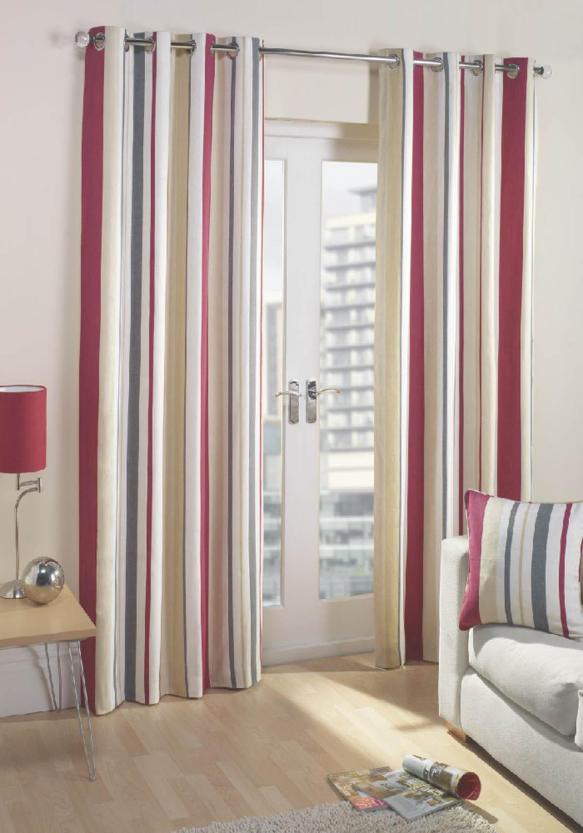 Wine Bailey Ready Made Lined Eyelet Curtains