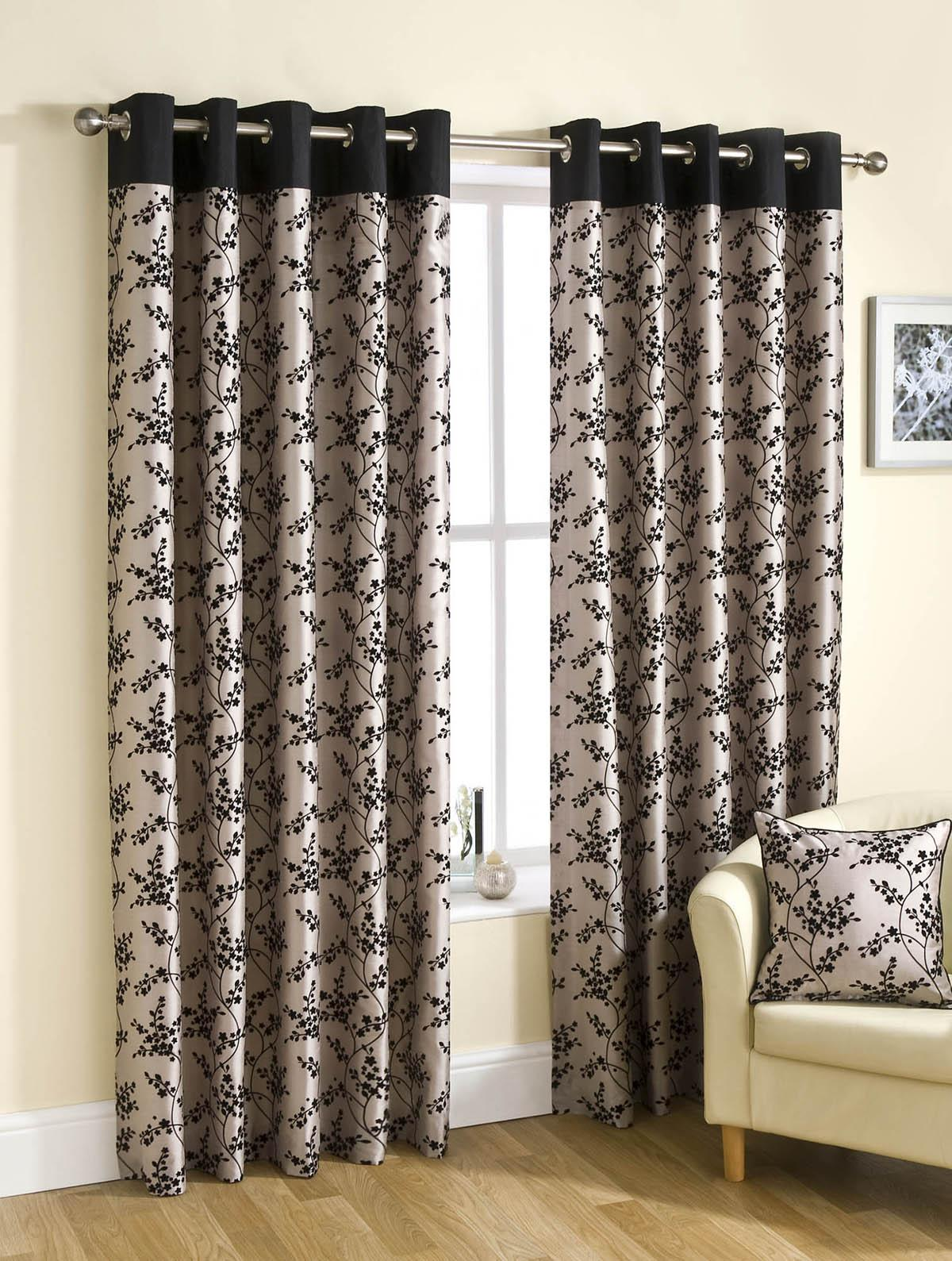 flora ready made eyelet curtains fully lined black. Black Bedroom Furniture Sets. Home Design Ideas