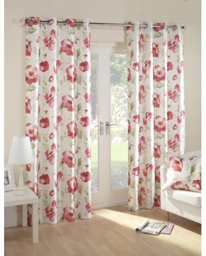 Blush Bloom Ready Made Eyelet Curtains