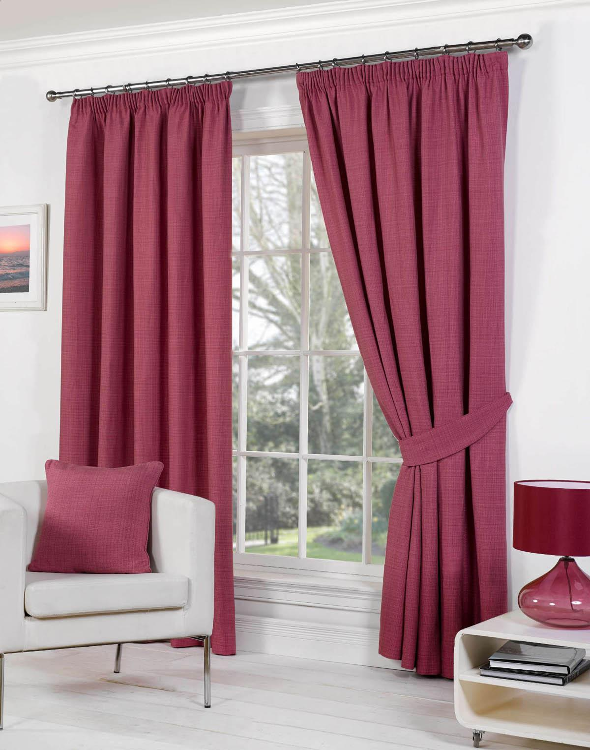 Raspberry Rome Ready Made Lined Curtains
