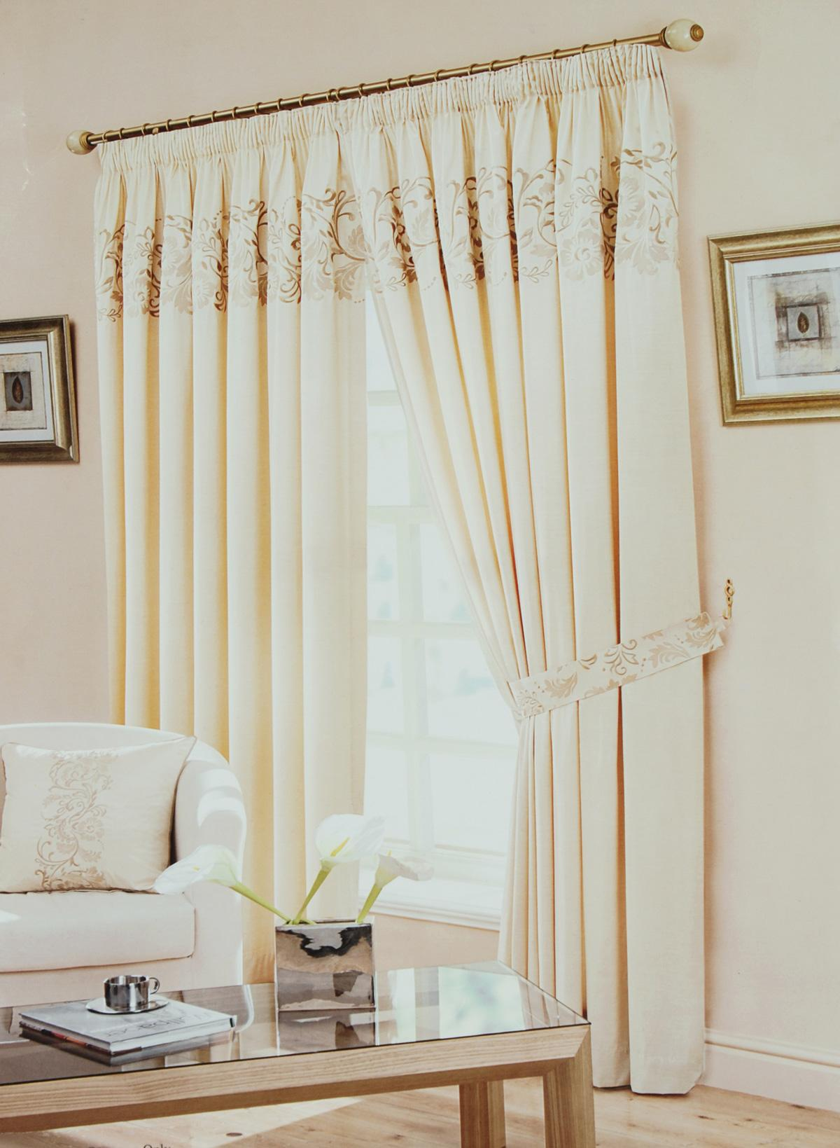 Beige Border Lined Ready Made Curtains