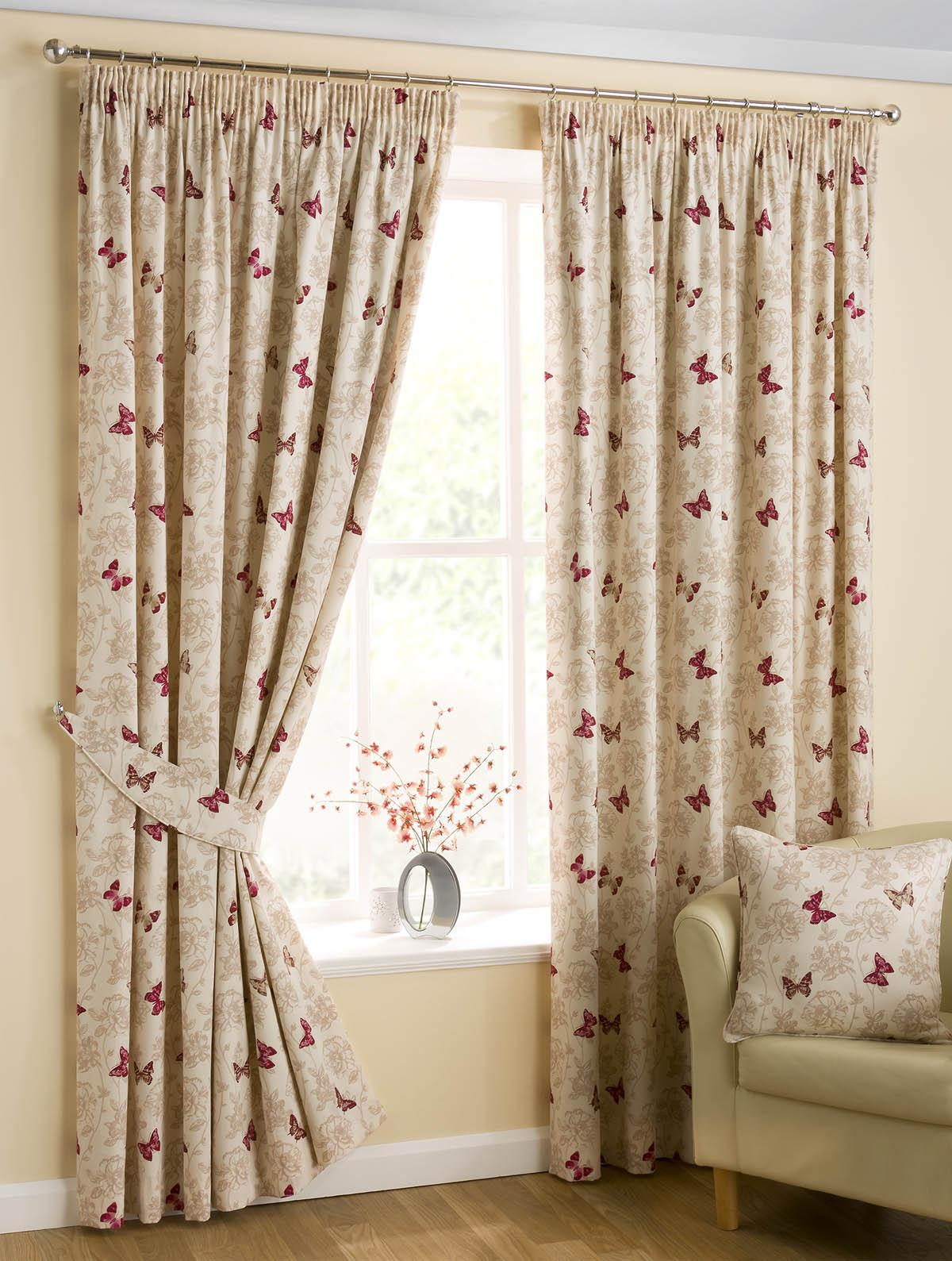 Butterfly Ready Made Pencil Pleat Curtains Fully Lined Mauve Red Ebay