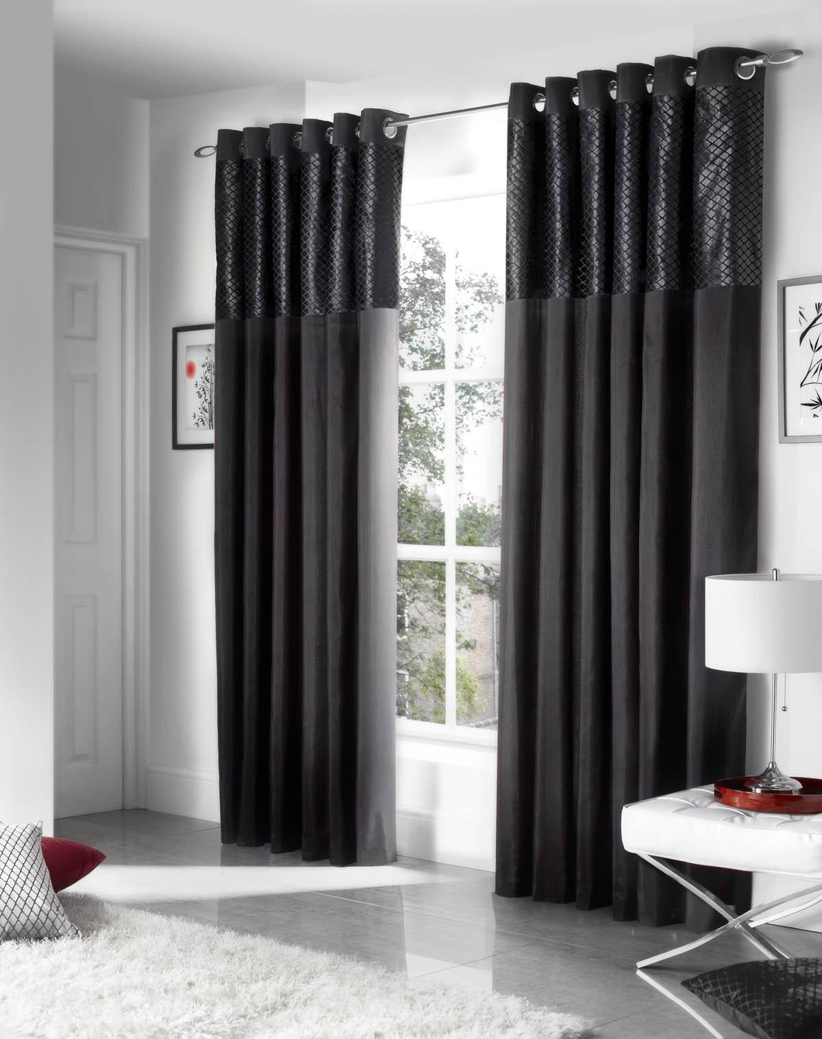 savoy ready made eyelet curtains fully lined black. Black Bedroom Furniture Sets. Home Design Ideas