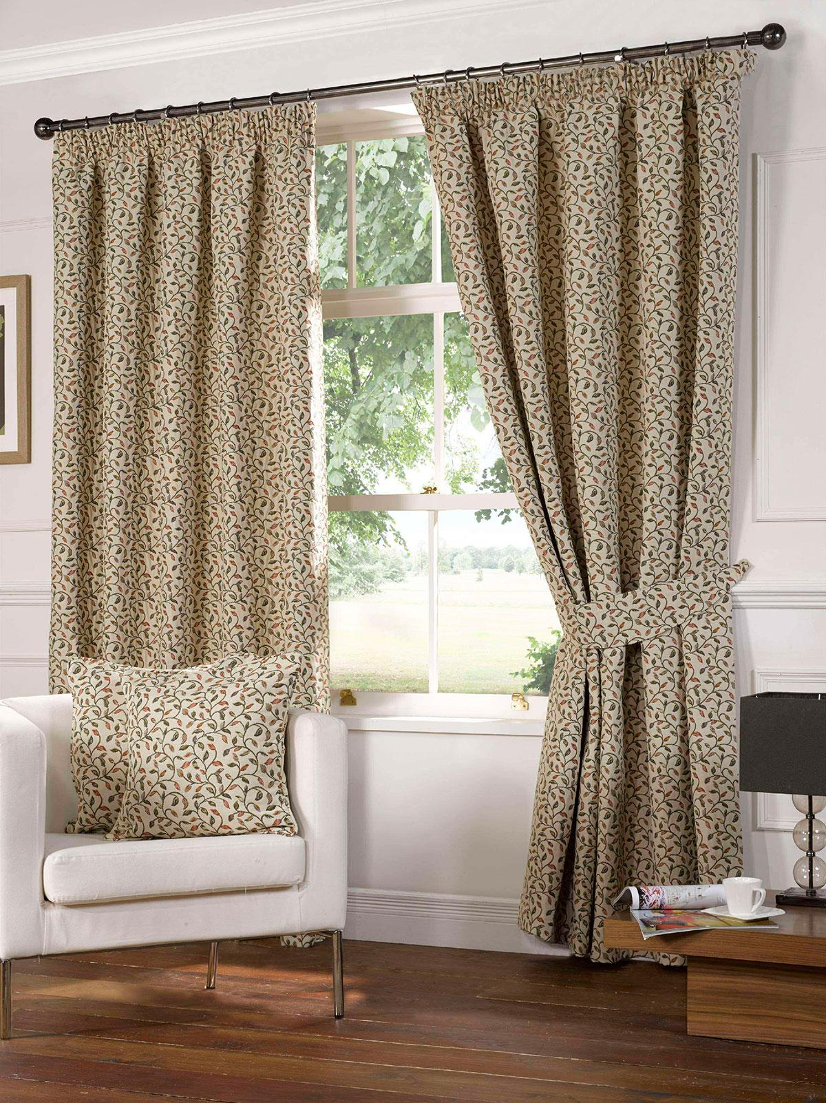 Terracotta Laurel Ready Made Lined Curtains