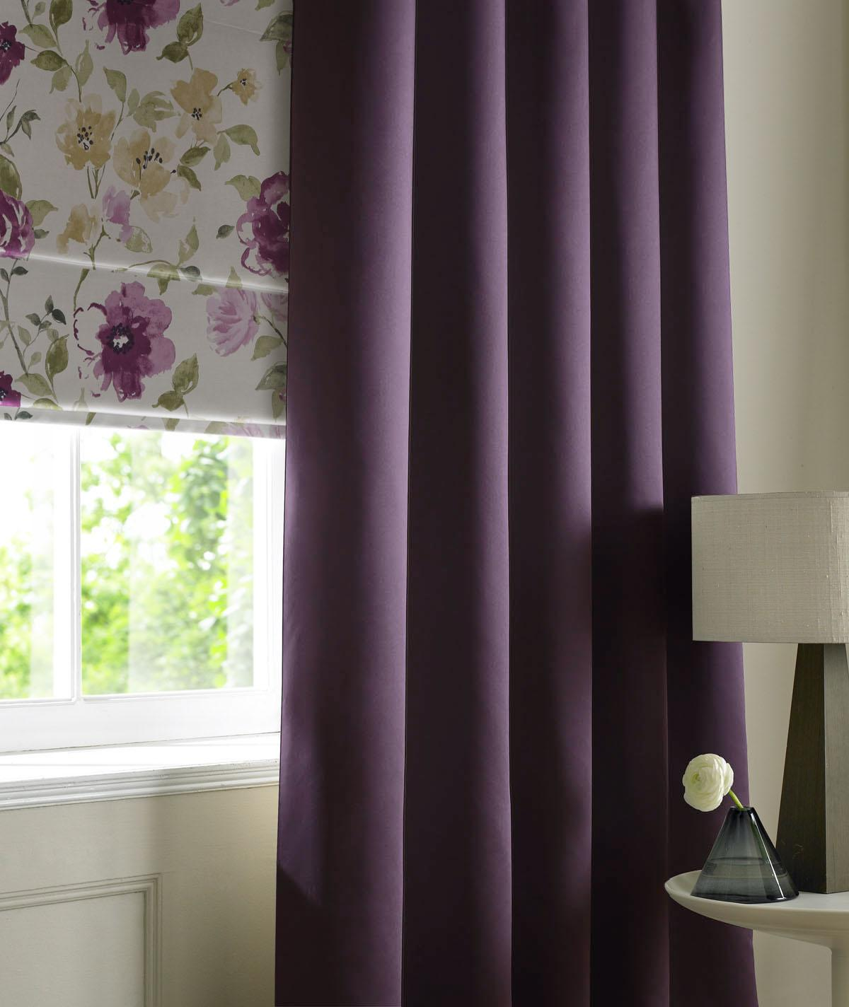 Aubergine Satin Made to Measure Curtains
