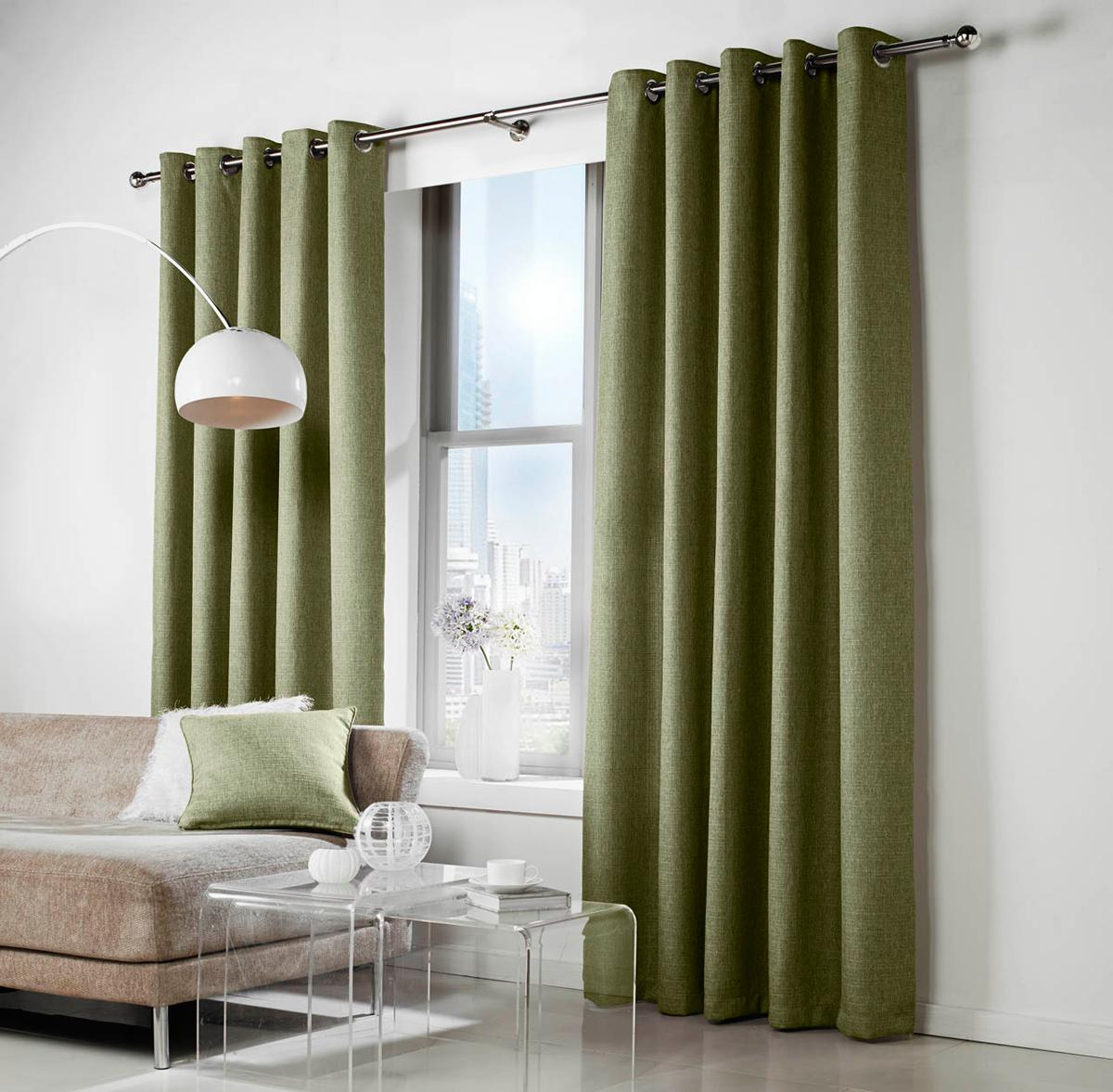 Green Leighton Ready Made Lined Eyelet Curtains