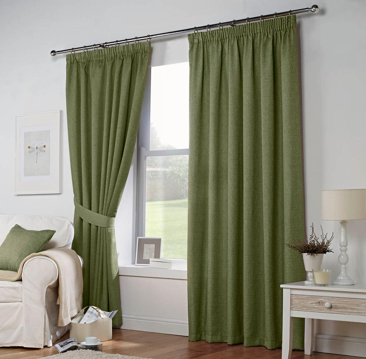 Green Leighton Ready Made Lined Curtains
