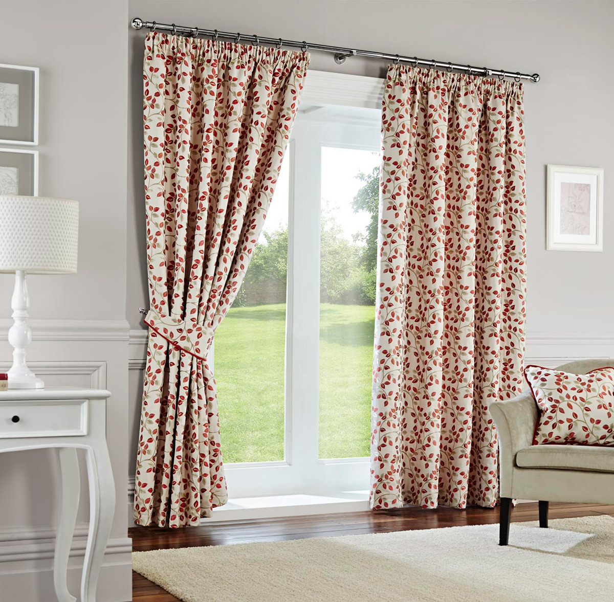 Terracotta Oakhurst Ready Made Lined Curtains