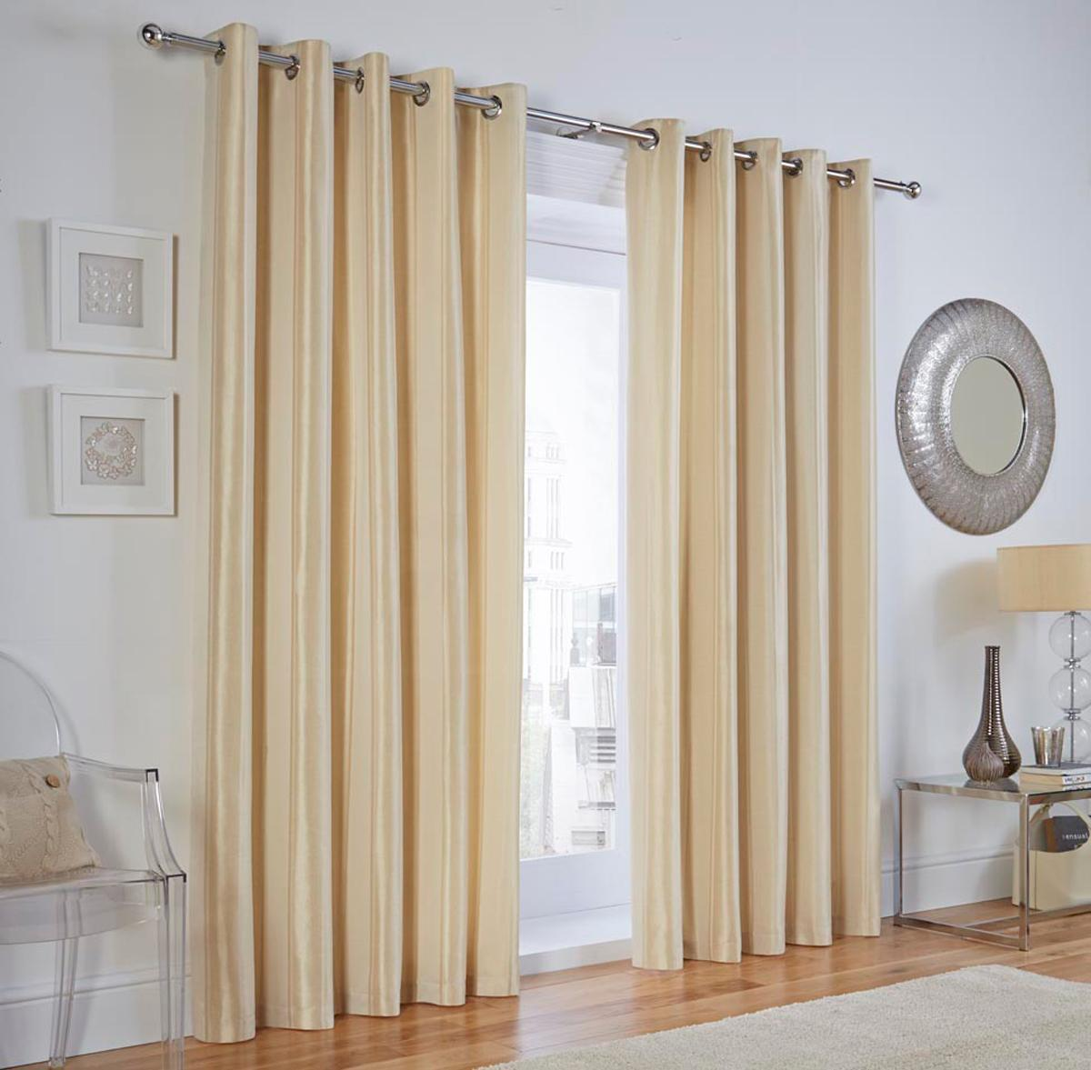 Natural Linwood Stripe Ready Made Lined Eyelet Curtains