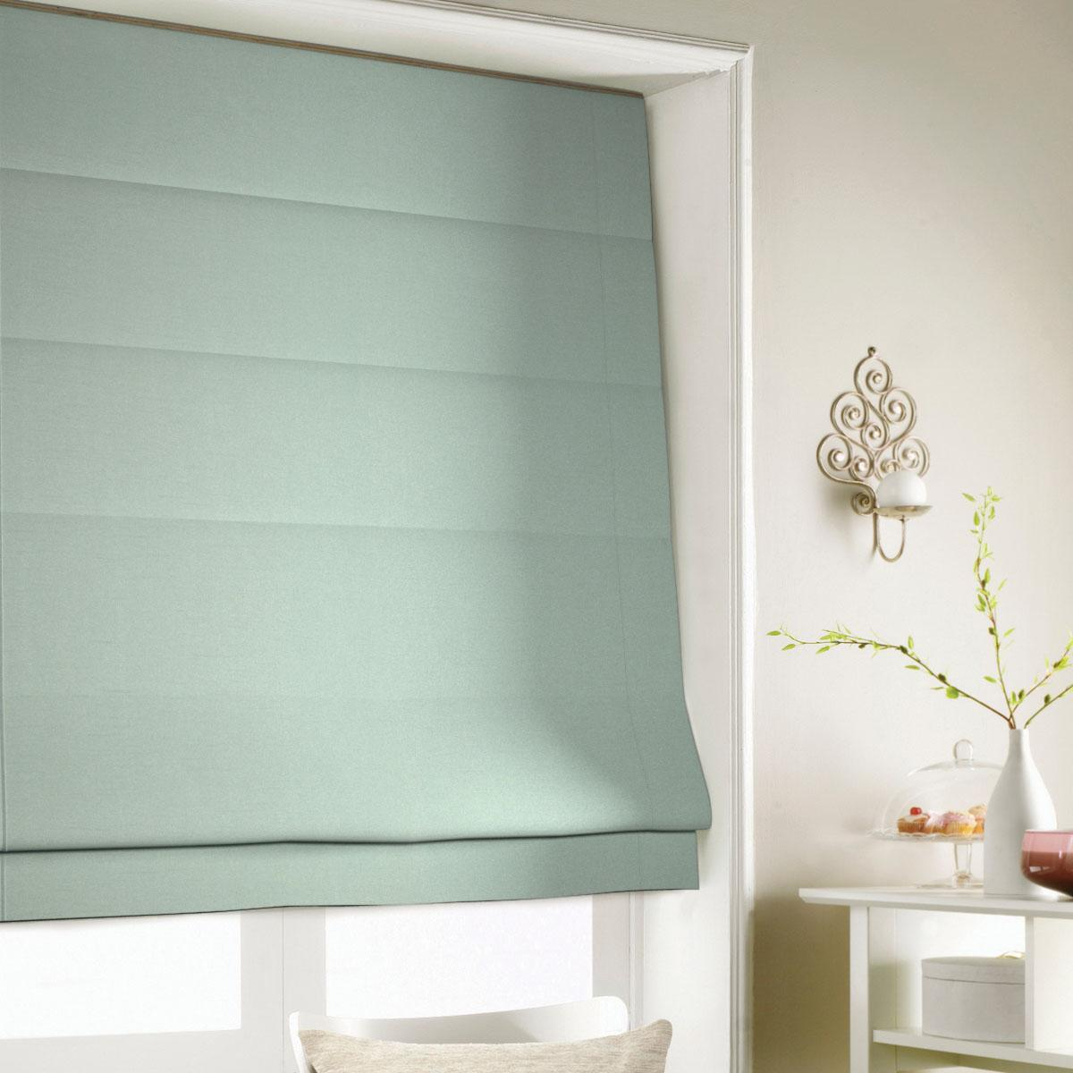 Duck Egg Art Silk Roman Blind