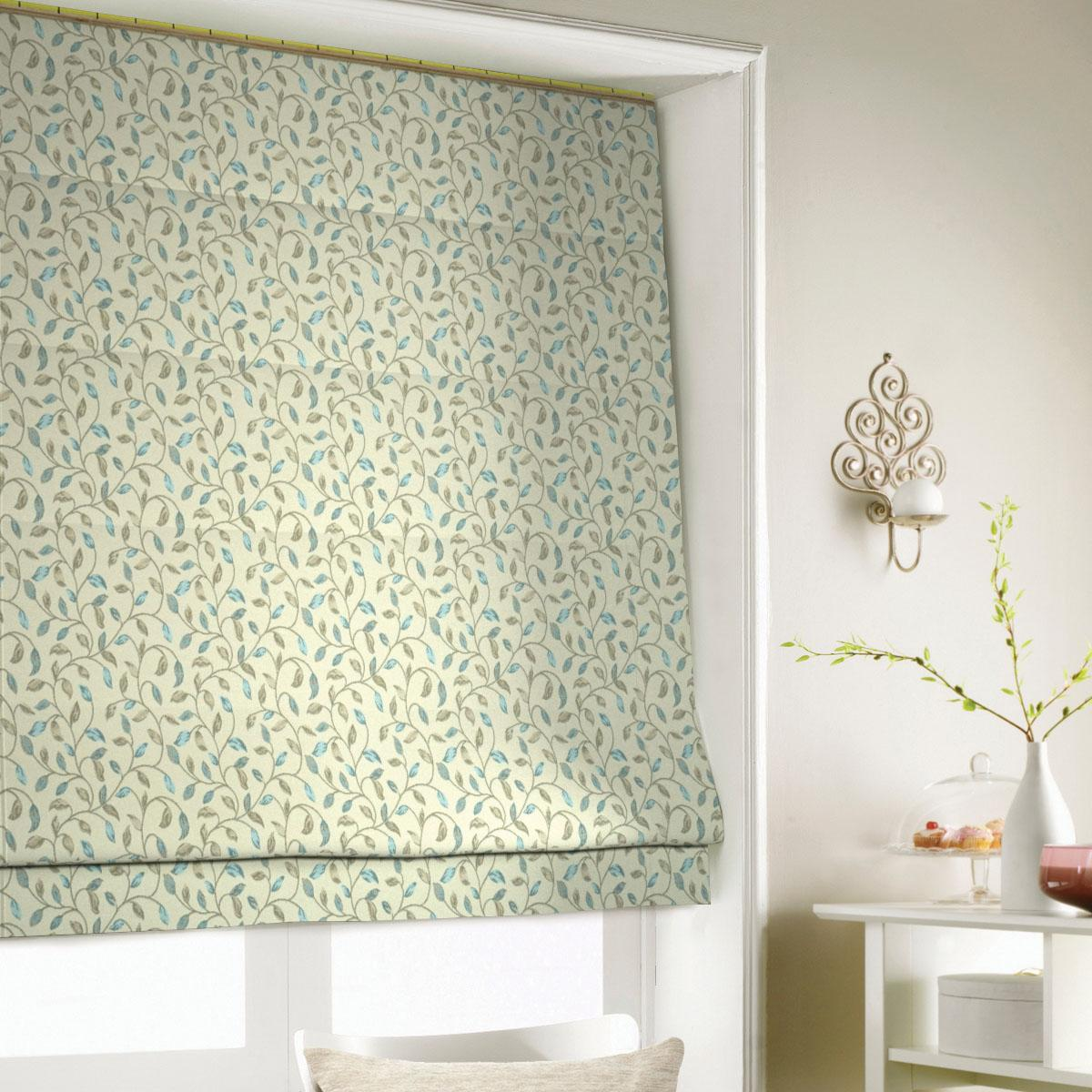 Blue Bud Roman Blind
