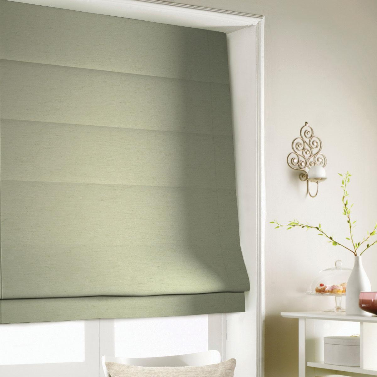 Green Silky Roman Blind