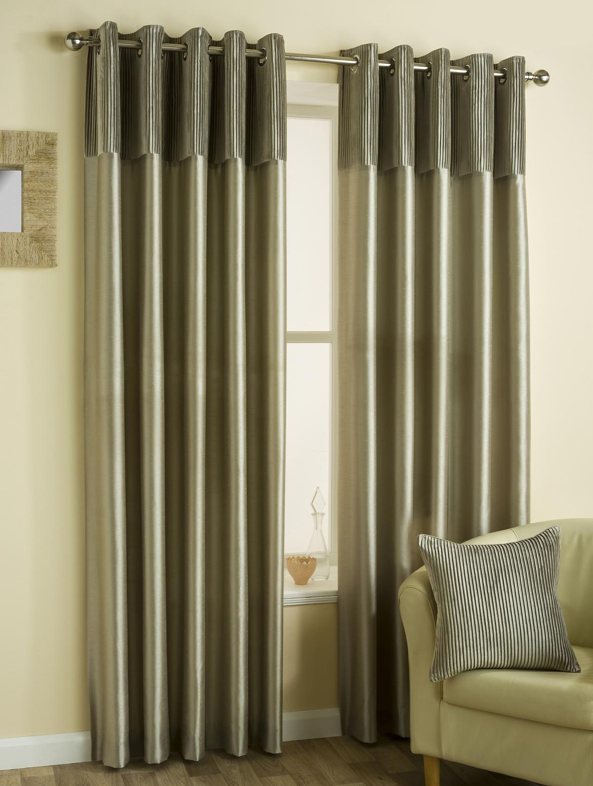 Mink Classic Border Ready Made Lined Eyelet Curtains