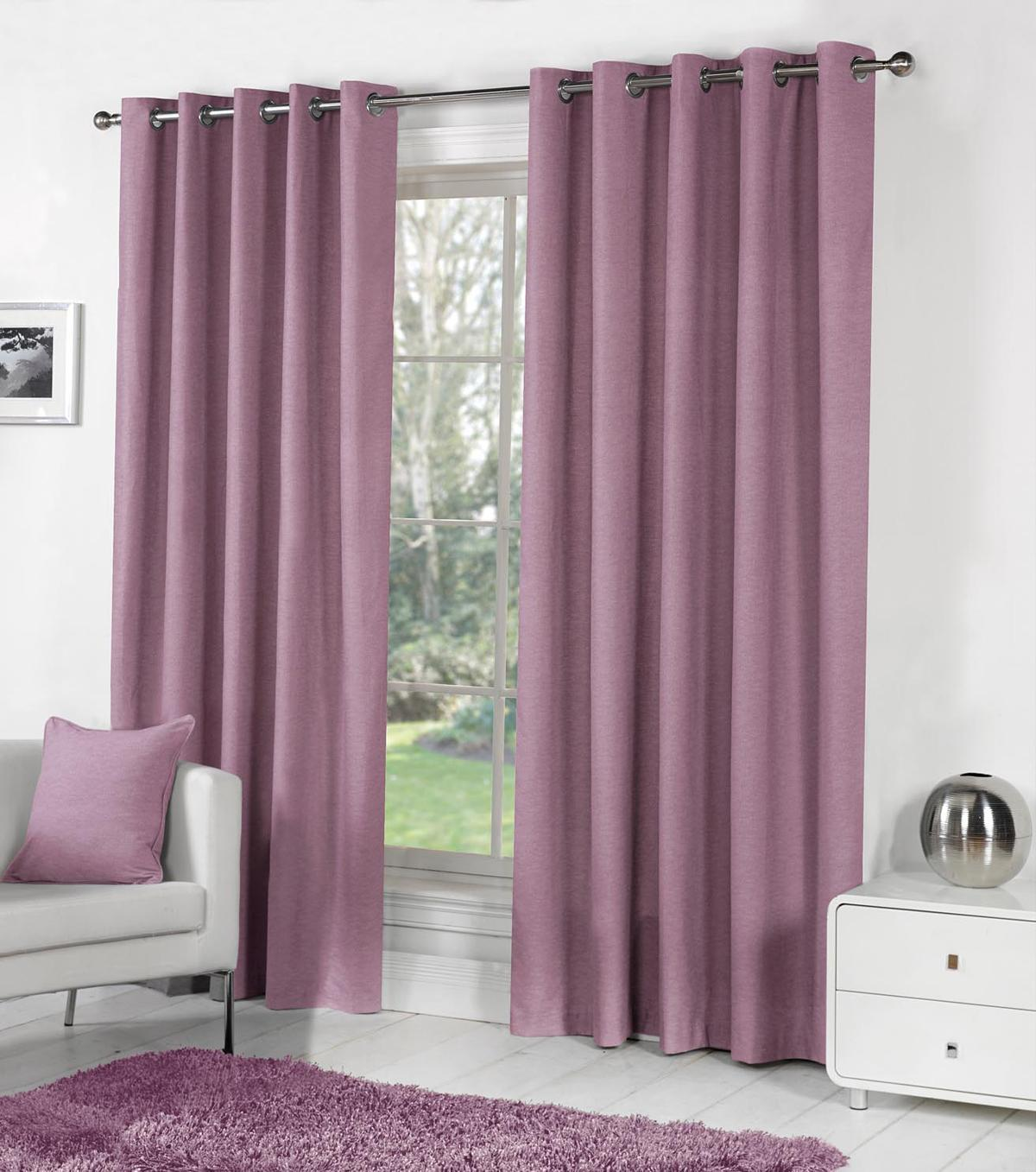Heather Sorbonne Ready Made Lined Eyelet Curtains