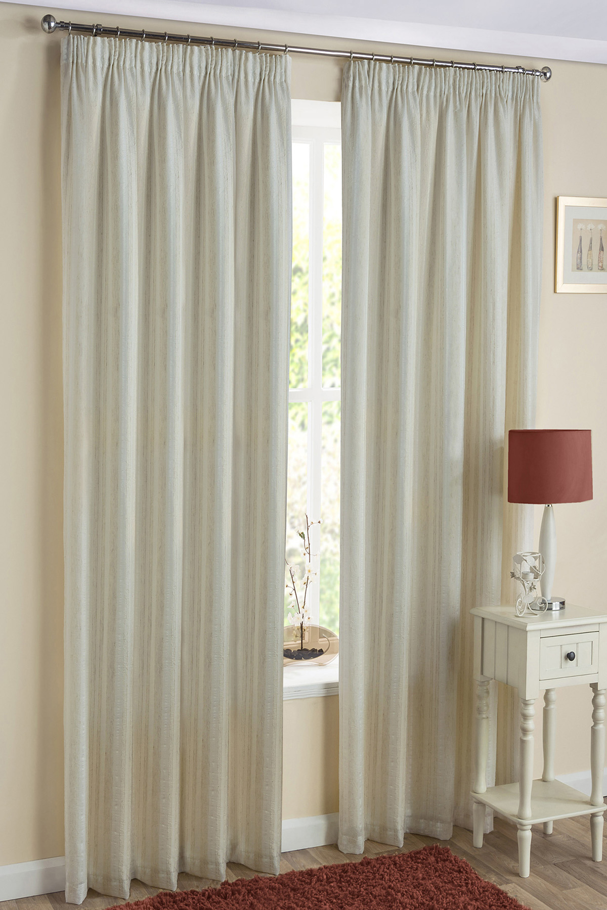 Natural Monaco Readymade Lined Voile Curtains