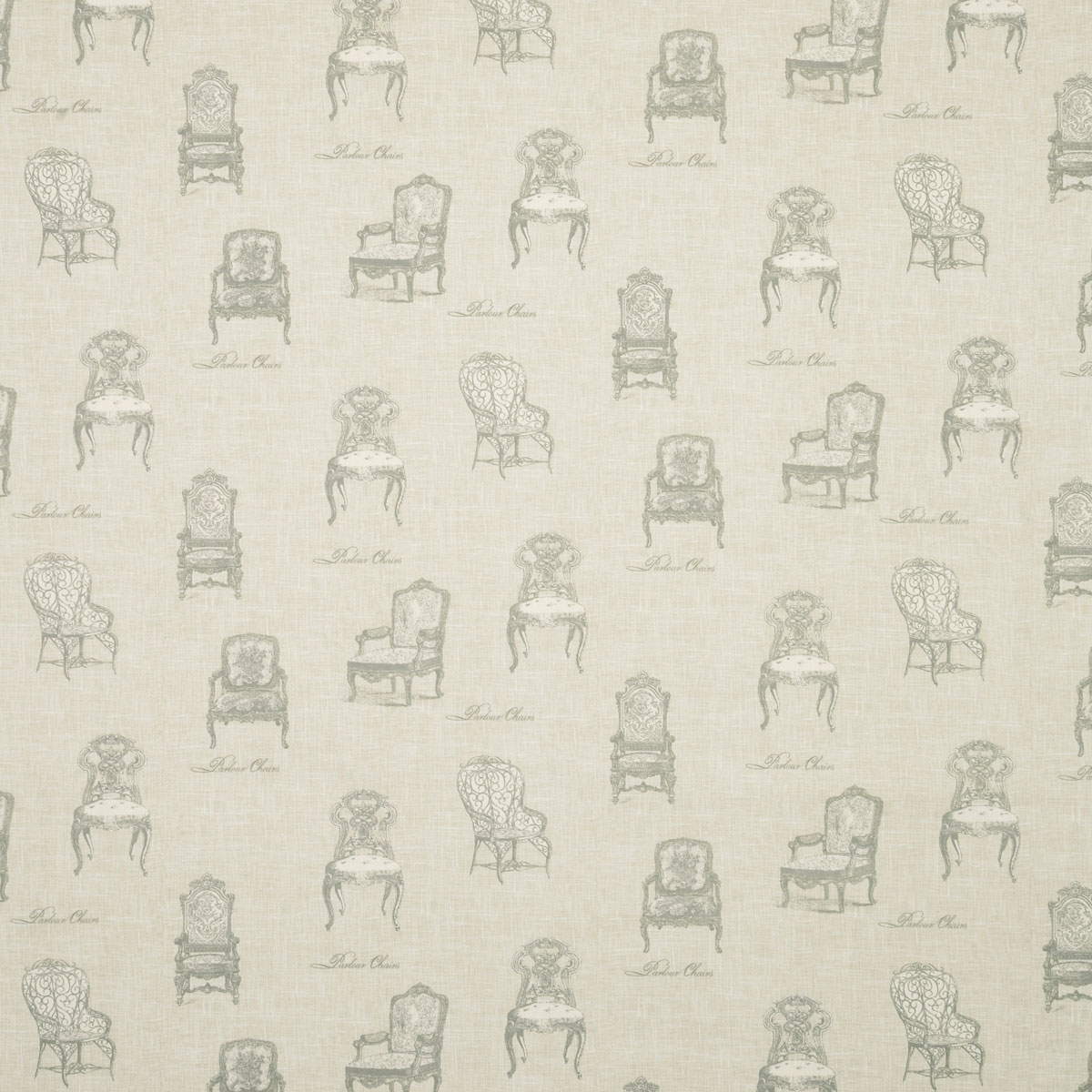 Charcoal Vintage Chairs Curtain Fabric