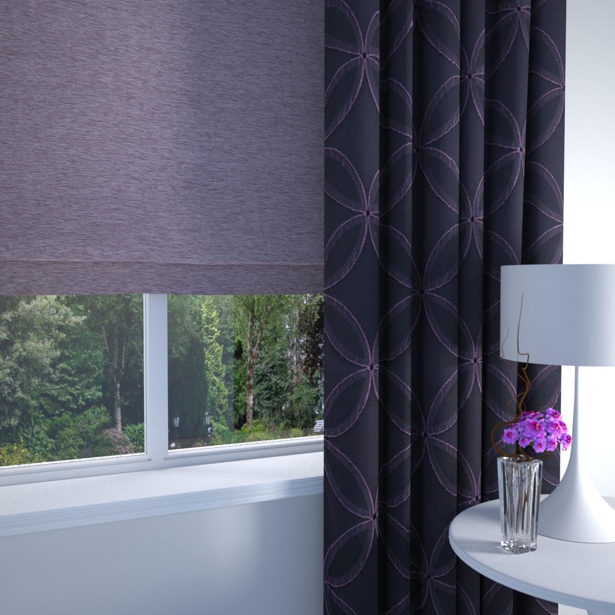 Aubergine Geometric Made to Measure Curtains