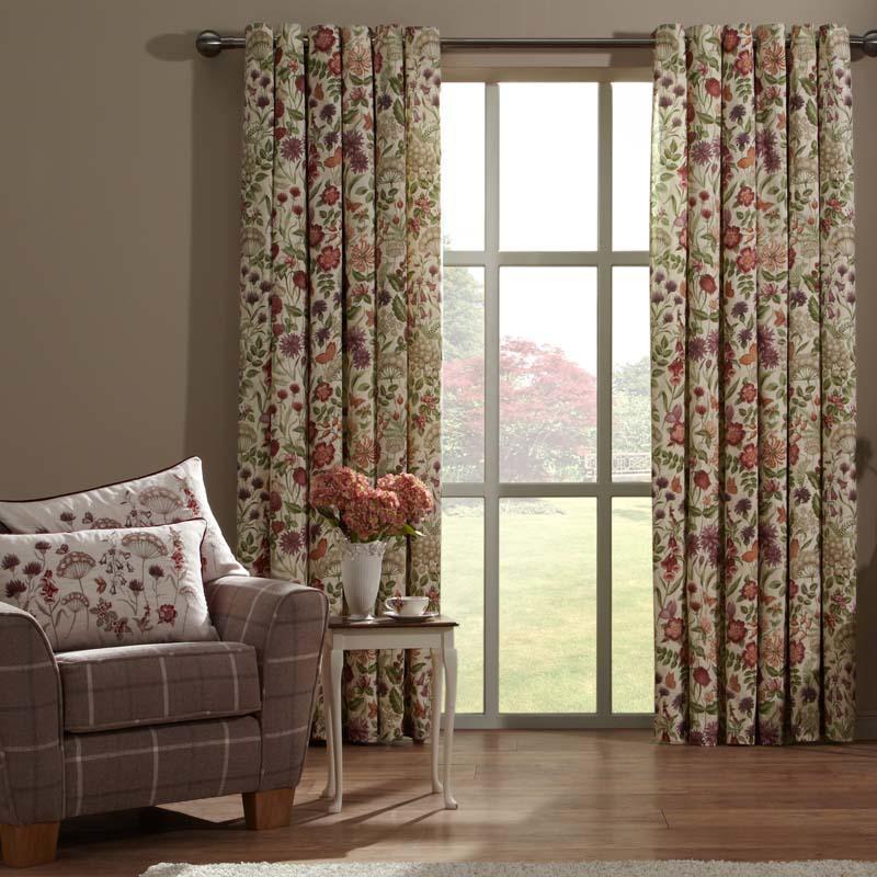 Tj Hughes Cedar Fully Lined Natural Jacquard Curtains