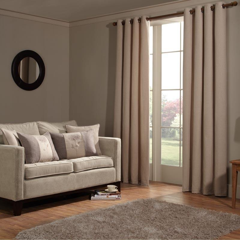Cream Anderson Ready Made Lined Eyelet Curtains
