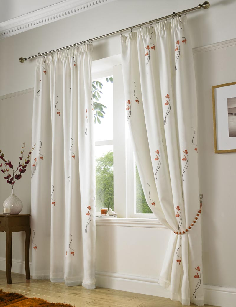 Orange Butterfly Ready Made Lined Voile Curtains