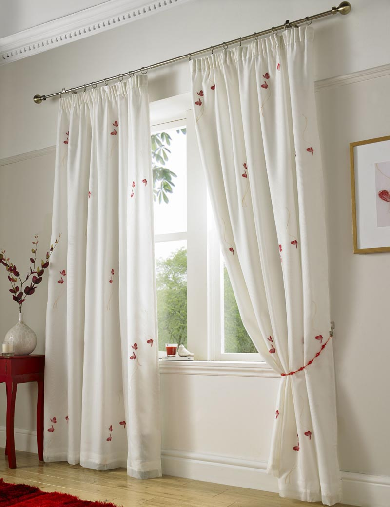 Red Butterfly Ready Made Lined Voile Curtains