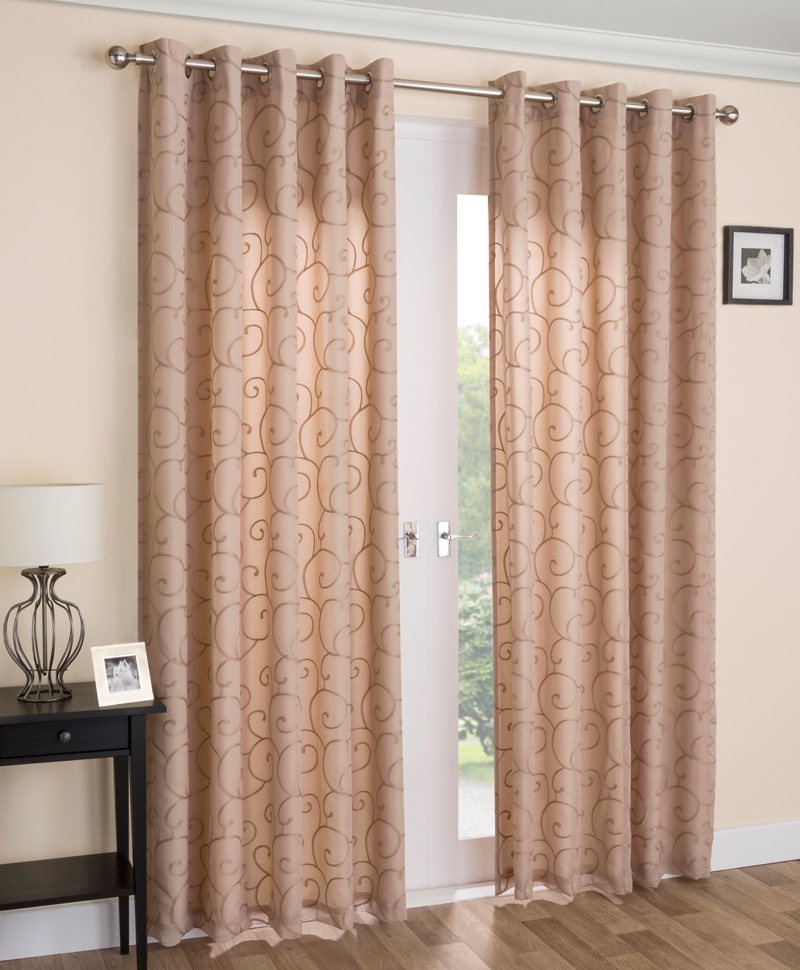 Latte Venice Ready Made Lined Voile Curtains