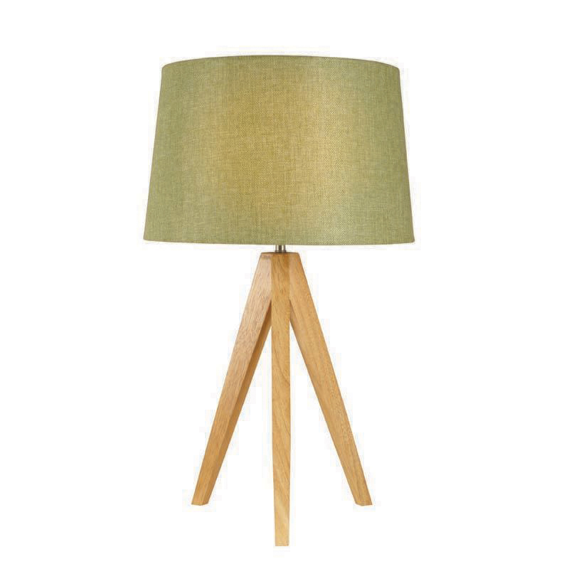 Olive Wooden Tripod Table Lamp