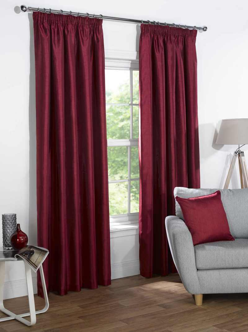 Red Sophia Ready Made Faux Silk Blackout Curtains