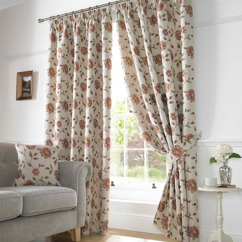 Terracotta Hereford Ready Made Lined Curtains