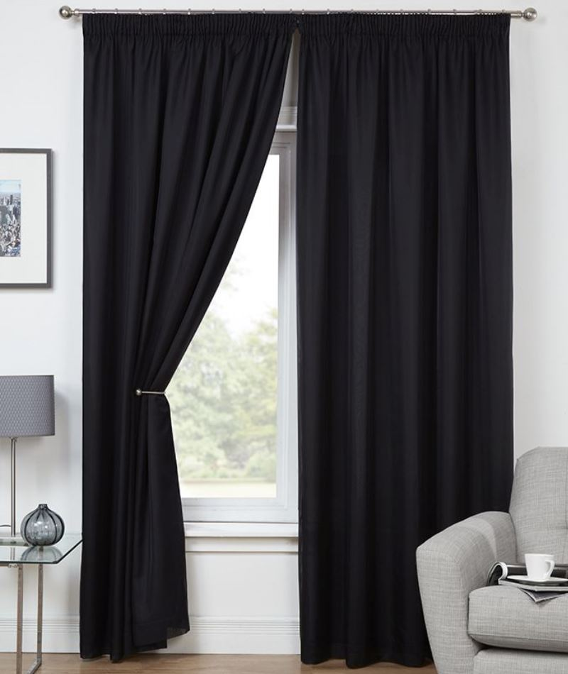 Black Evie Ready Made Lined Voile Curtains
